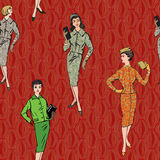 Fashion dressed girl seamless background. Stylish fashion dressed girls (1950s 1960s style) seamless pattern: Retro fashion party. vintage fashion silhouettes royalty free illustration