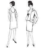 Fashion dressed women (1950s 1960s style). Stylish fashion dressed girls (1950s 1960s style): Retro fashion party. vintage fashion silhouettes from 60s Stock Photography