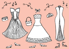 Fashion dresses and accessories Stock Image
