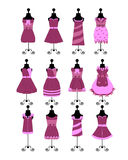 Fashion dresses and hats Royalty Free Stock Images