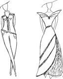 Fashion dresses sketches Royalty Free Stock Image