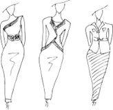 Fashion dresses sketches hand drawn Royalty Free Stock Photos
