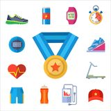 Fashion dressing run sport accessory icons vector sneaker activity footwear exercise workout. Fashion dressing run sport accessory icons vector set. Sneaker Royalty Free Stock Photo