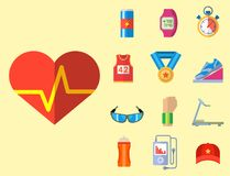 Fashion dressing run sport accessory icons vector sneaker activity footwear exercise workout. Fashion dressing run sport accessory icons vector set. Sneaker Royalty Free Stock Images