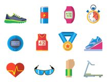 Fashion dressing run sport accessory icons vector sneaker activity footwear exercise workout. Fashion dressing run sport accessory icons vector set. Sneaker Royalty Free Stock Photography