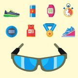 Fashion dressing run sport accessory icons vector sneaker activity footwear exercise workout. Fashion dressing run sport accessory icons vector set. Sneaker Stock Photography