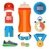 Fashion dressing run sport accessory icons vector sneaker activity footwear exercise workout. Fashion dressing run sport accessory icons vector set. Sneaker Royalty Free Stock Photos