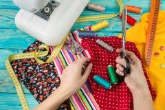 Fashion dressmaker working Stock Images