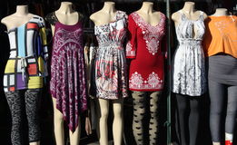 Fashion Dummies. Modelling women clothes outdoors stock photography