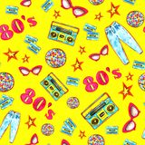 Fashion 80`e colorful seamless pattern royalty free illustration