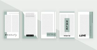Fashion editable templates for stories. Modern covers design for social media, banners, flyers, cards. royalty free illustration