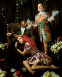 Fashion editorial with two women and one man Royalty Free Stock Image