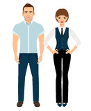 Fashion elegant couple. Man in polo shirt and woman in vest and trousers on white background. Vector illustration Royalty Free Stock Photography
