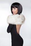 Fashion Elegant Woman in black dress.  Royalty Free Stock Photography