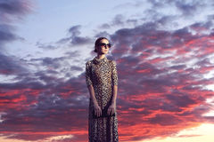 Fashion elegant woman in dress with leopard print at evening sun. Set sky with clouds landscape background royalty free stock image