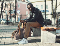 Fashion elegant young african man wearing a sunglasses stock photos