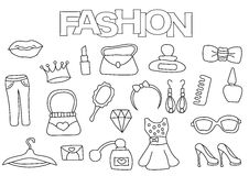 Fashion elements hand drawn set. Coloring book template.  Outline doodle Stock Photography