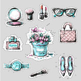 Fashion elements stickers or badges hand drawn style royalty free illustration