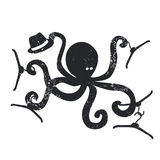 Fashion emblem with octopus Vector illustration Stock Image
