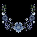 Fashion embroidered floral neckline, embroidery patch for apparel, wearing decoration. Stock Photos