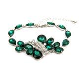 Fashion emerald bracelet isolated on white Stock Photo