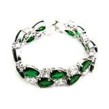 Fashion emerald bracelet isolated on white royalty free stock image