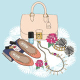 Fashion essentials. Background with bag, sunglasse. S, shoes, jewelery, makeup and flowers Royalty Free Stock Images