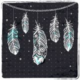 Fashion ethnic feather illustration. Can be used as greeting card Stock Image