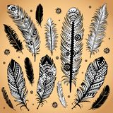 Fashion ethnic feather illustration Stock Photo