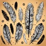 Fashion ethnic feather illustration Stock Photo