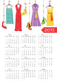 Fashion European calendar .Colorful women's party Royalty Free Stock Images