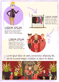 Fashion Event Review Infographics. Catwalk fashion infographic poster with flat cartoon characters of hipster journalist female models costumes with text vector Stock Photography