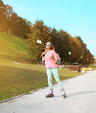 Fashion, extreme, youth and people concept - pretty sporty girl Royalty Free Stock Photography