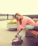 Fashion, extreme, youth and people concept - pretty stylish girl Stock Photography