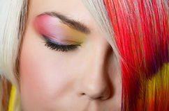 Fashion eye make-up with bright eyeshadow - macro shoot Royalty Free Stock Image