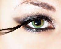 Fashion eye makeup. With feather false eyelashes Royalty Free Stock Images