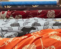 Fashion Fabric Rolls In Retail Market Shop Stock Images