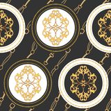 Fashion Fabric Seamless Pattern with Golden Chains, Belts and Straps. Luxury Baroque Background Fashion Design Jewelry Elements. Fashion Fabric Seamless Pattern vector illustration