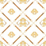 Fashion Fabric Seamless Pattern with Golden Chains, Belts and Straps. Luxury Baroque Background Fashion Design Jewelry Elements. Fashion Fabric Seamless Pattern stock illustration