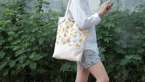 Fashion Fabric Tote Bags with Banana Pattern Stock Photo