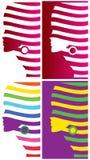 Fashion Face logos set, vector. Set of 4 logos of a woman face. vector available Stock Photo