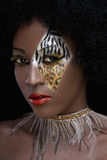 Fashion face painting. Elegant fashion painting with zebra, leopard pattern Stock Photography