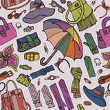 Fashion Female Accessories seamless pattern.Sketch Royalty Free Stock Images