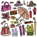 Fashion Female Accessories Set.Hand drowing Sketch Stock Images