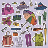 Fashion Female Accessories Set.Hand drowing Sketch Royalty Free Stock Image