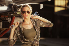Fashion Female airplane mechanic Stock Photo