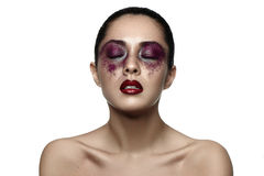 Fashion female asian Model with purple Makeup Royalty Free Stock Photography