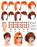 Fashion female avatars. 5 hairstyles in 2 colors, 5 eyes in 3 colors, 5 mouths in 2 colors, 3 glasses, 1 head, for multiple combinations. Some previews on the Royalty Free Stock Images
