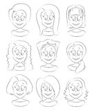 Fashion female avatars. Hairstyles Stock Photography