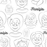 Fashion female avatars. Hairstyles pattern Stock Photography